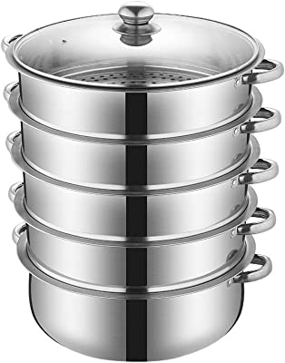 5 Tier Steamer Pot,Heavy Duty Stainless Steel,Food Grade Stacked Stream Pot Steamer Pan with Glass Lid 26cm Steamer Cooking