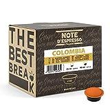 Note d'Espresso - Cápsulas de café para las cafeteras Lavazza y A Modo Mio, Colombia, 100 unidades de 7 g