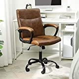 Leather Home Office Chair Ergonomic Desk Chair Mid Back Computer Chair Adjustable Executive Cahir Swivel Managerial Chair Brown, Capacity 400lbs
