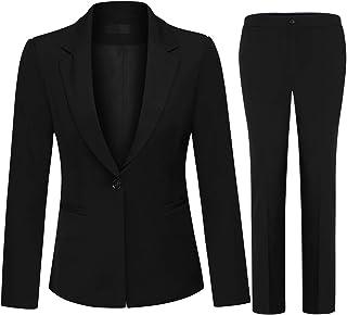 YUNCLOS Women's 2 Piece Office Lady Business Suit Set Slim Fit Blazer Pant