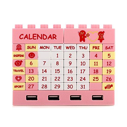 W DIY Bouwblokken Kalender 4 Poort USB 2.0 Hub Roze