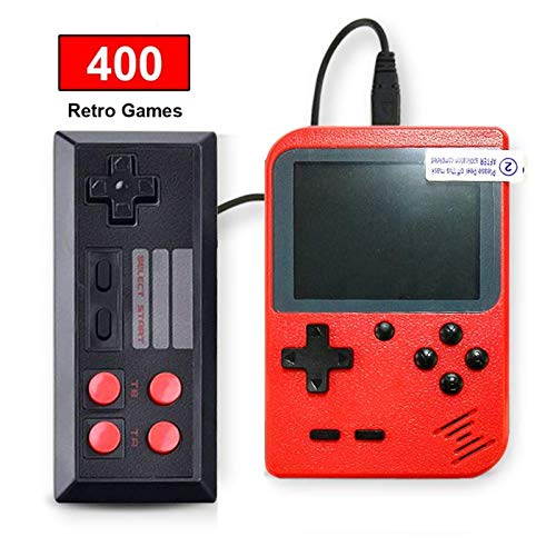SeeKool Retro Handheld Games Console, Kids Portable Gameboy with 400 Classic NES FC Game, 3 Inch Color Screen, 800mAh Rechargeable Battery, TV AV Output, Christmas Birthday Gift for Boys Girls (red)
