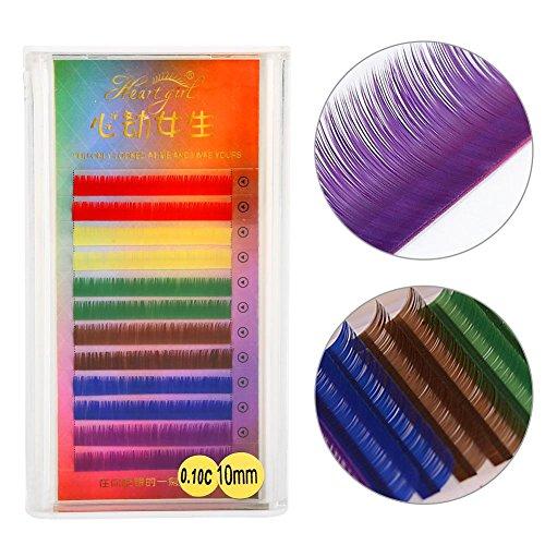 3 Types Rainbow Coloré Faux Cils Extension Gradient Couleur Faux Cils Eye Individuel(10mm)