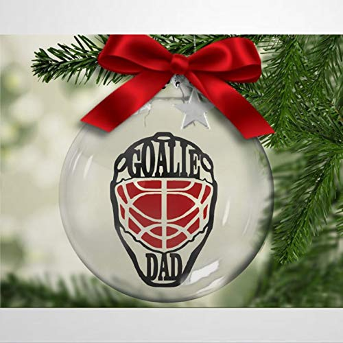 BYRON HOYLE Goalie DAD Hockey Christmas Plastic Ball Ornament, Christmas Tree Ornament Decoration Hanging Glossy Ornaments Funny Xmas Presents Window Door Kitchen Dress up Bauble