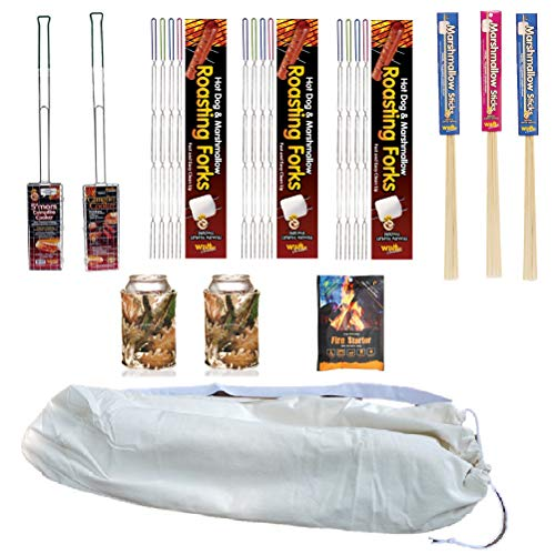 Marshmallow Sticks Smores Kit for Campfire Bundle - Roasting Sticks Skewers Basket Grills and More for Fire Pit with Carry Bag