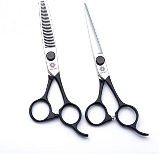 Hair Scissors Kit 6.0 inch Professional Japanese 440C Steel Hair Cutting Shears and Thinning/Texturizing Scissors Hairdressing Barber Shears Set with Fine Adjustment Tension Screw