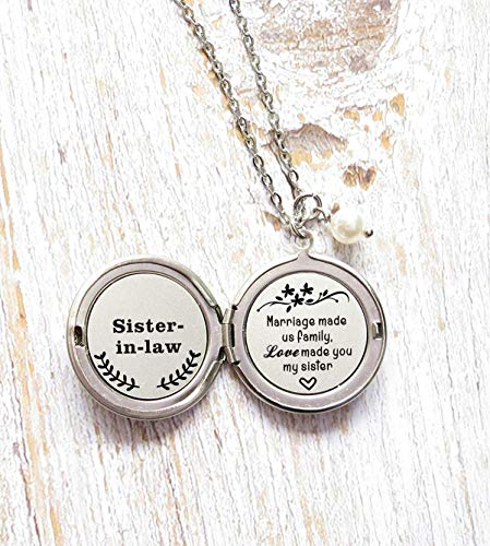 Sister in Law Gift Marriage Made Us Family Love Made You My Sister Long Locket necklace
