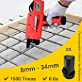 Rebar Tier Tying Machine Automatic Steel Bar Rod Tying Binding Tool Handheld Electric Tying Tools with 5 Rolls of Tying Wires for free (Tying range: 8-34mm)
