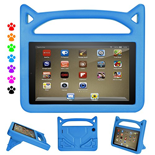 Kindle Fire Tablet 7 Case-Auorld Kids-Proof Protective Cover with Handle Stand for Amazon Fire 7 Tablet (Compatible with 2015&2017&2019 Release) (Blue)