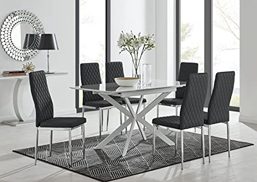 Furniturebox UK Lira White Gloss Extendable Table. 120cm - 160cm Modern Space Saving Dining Table With Starburst White Legs with 6 Black Faux Leather Milan Silver Leg Dining Chairs