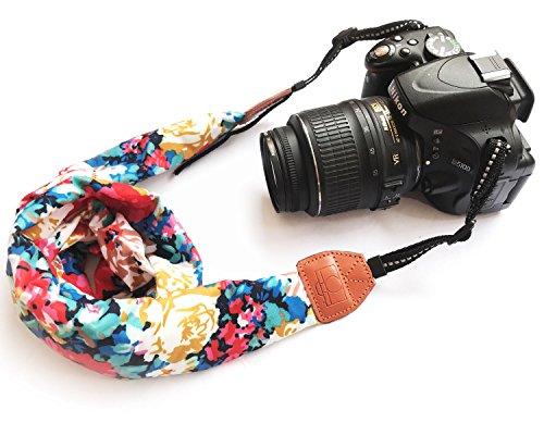 Alled Tracolle per Macchine Fotografiche,Cinghia Fotocamera Bohemia Vintage Spalla Cinghia Reflex per DSLR SLR Nikon Canon Sony Lumix Olympus Samsung Pentax Fujifilm Universale (Sciarpa Rossa)