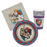 Boland 44013–Juego tabla Knights & Dragons 6vasos, 6platos cm 18, 12servilletas, multicolor
