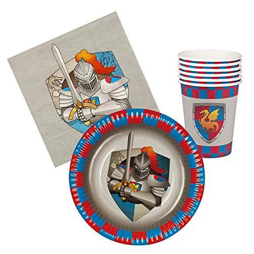 Boland 44013–Service de Table composé de 6Assiettes, 6gobelets de 18 cm et 12Serviettes, thème Knights & Dragons, Multicolore
