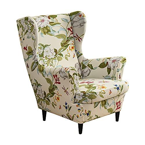 CHNSHOME Fundas de sillón orejero elástica 1 Plaza Funda para sillas de Orejas 2 Piezas Fundas para sillas con Respaldo de alas