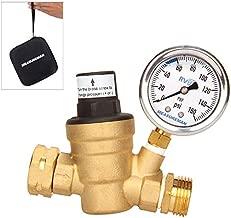 Measureman Adjustable Brass Lead Free RV Pressure Regulator, Pressure Reducer with Liquid Filled Pressure Gauge 160psi and Inlet Screened Filter for RV Camper Travel Trailer