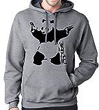 Gbond Apparel Banksy Panda Hoodie Sweatshirt, Large, Heather Gray