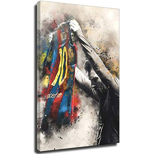 Cuadros abstractos de Lionel Messi de fútbol de la estrella de la lona de la impresión retro del fútbol del deporte de la pared para la decoración de la sala de estar estilo unframe-1 30×45 cm