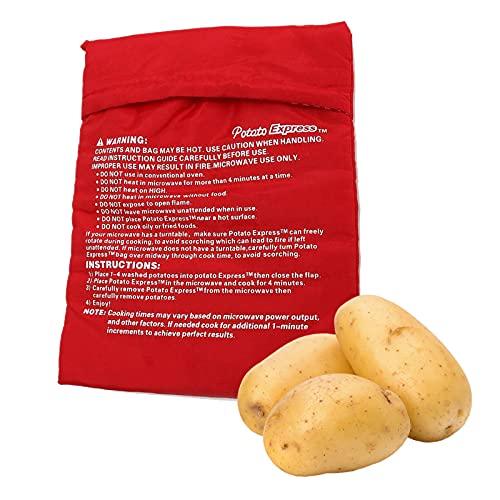 LdawyDE Bolsa Asar Patatas Microondas, Bolsa De Microondas Papas, Bolsa Patatas Microondas, Material duradero, lavable a máquina, reutilizable, para patatas, mazorcas de maíz (4 piezas, 24 x 18cm)