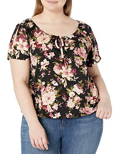 Star Vixen Women's Plus-Size Short/Slit Sleeve Keyhole-Tie Peasant Top Bubble Hem, Black Ground Floral, 2X
