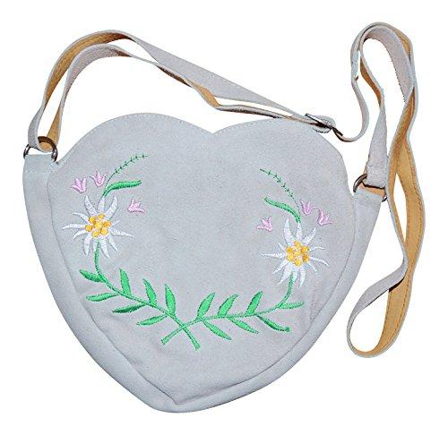 MS-Trachten Trachtentasche Dirndltasche Ledertasche Tasche (weißgrau)
