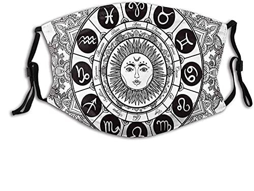 Moda 2 capas lavable Protcetion máscara reutilizable, casas de astrología en patrón de mandala asiático con sol en medio étnico Kitsch ilustraciones | con filtro