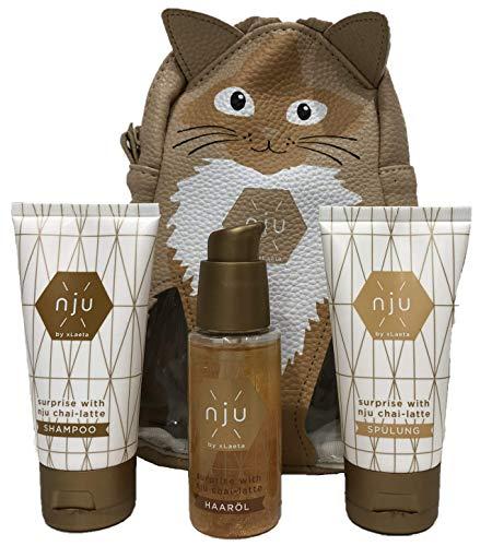 nju by xLaeta Chai-Latte Geschenkset Shampoo, Spülung & Haarkur - Haarpflegeserie aus Naturkosmetik 100% Vegan - ohne Silikon, Sulfate & Parabene - Reiseset inkl. Geschenkbeutel