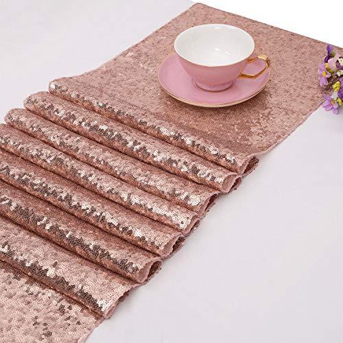 TOROTON Rosé-Gold Pailletten Tischläufer, für Hochzeitsfest Dekoration 30cm x 275cm