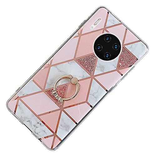 Herbests Kompatibel mit Huawei Mate 30 Pro Hülle Bunt Marmor Muster TPU Silikon Handyhülle Glänzend Bling Glitzer Diamant Strass Ring Halter Ständer Crystal Case Tasche Schutzhülle,Rosa