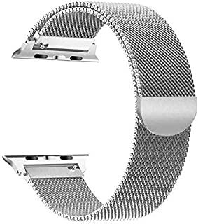 Compatible with Apple Watch Band 42mm 44mm, Stainless Steel Mesh Loop Sport Replacement Wristband with Adjustable Magnetic...