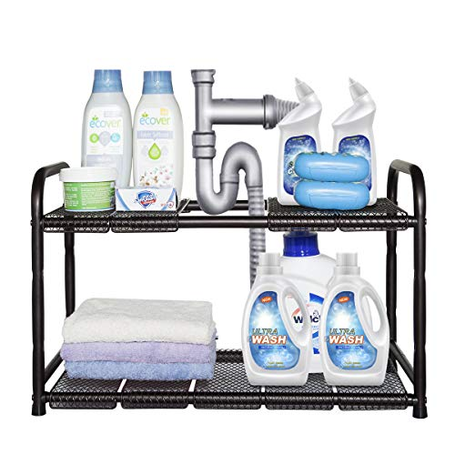 STORAGE MANIAC Under Sink 2 Tier Expandable (Width & Height) Shelf Organizer, Under Sink Organizer and Storage with 10 Removable Steel Panels for Kitchen, Bathroom - from 18 to 30 Inches, Bronze