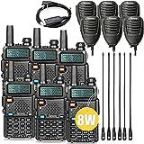 Ham Radio UV-5RPro 8W Amateur Radio More Handheld Speaker Mic and NA-771 Antenna 6Pack One Programming Cable