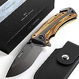 BERGKVIST® navaja de bolsillo K29 Titanium 3-en-1 navaja plegable I navajas de albacete con mango de madera I Cuchillo de caza con funda & afilador