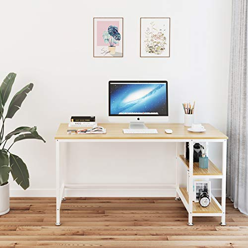 YOLEO Computer Desk, Modern Simple Home Office Desk with Convenient Storage Shelves, 120 x 60 x 72 CM, Stable Industrial Desk with Wood and Metal Frame for Writing and Study (Oak)