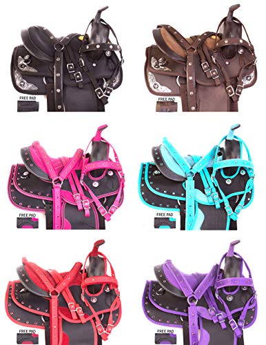 """Acerugs 12"""" 13"""" Kids Youth SEAT Western Full Size Horse Saddle TACK Package Barrel Racing Silver Show Pink Purple RED Blue Crystal (Teal, 13)"""