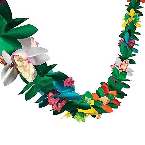 Epaynetwork Tropical Tissue Flower Garland, 9.8 Feet Long Tropical Multicolored Paper Garland Flower Banner for Birthday Baby Shower Wedding Luau Hawaiian Party Supplies