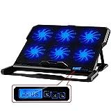 XSHBHD Laptop Cooling Pad 6 Ventiladores de enfriamiento y Dobles Puertos USB del Ordenador portátil más Fresco con luz Pantalla LCD Soporte for portátil Durante 12-16 Pulgadas (Color : Black)