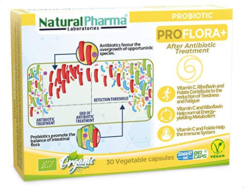 NaturalPharma ProFlora+ Probiotic. Recover After Antibiotics. Vitamin C + Vitamin B2 + Folate. Smart BioCaps Capsules. Organic Certification (Gluten & Lactose Free, Vegan).