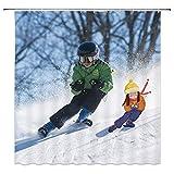 WinterSkiDuschvorhangWeißSchneeBergElternSkifahrenOutdoorSportDekorStoffBadGardinen,WasserdichtesPolyestermitHaken