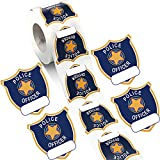 600 Pieces Police Badge Name Tag Sticker Cop Police Officer Party Sticker Police Badge Name Tag Label Sticker Roll Decal Card Seal for Kids Police Birthday Party Supplies