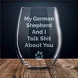Weinglas mit Lasergravur, Motiv: Deutscher Schäferhund, Schäferhund, Geschenk für Sie, Deutscher Schäferhund, Weinglas, ohne Stiel, Whiskyglas, personalisierbar, 425 ml