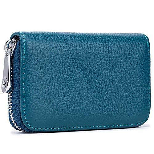 Tarjeteros para Tarjetas de Credito, RFID Wallet Pasaporte, Piel Auténtica, Titular de la Monederos con Cremallera-Meowoo (Azul)