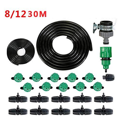 LLSS Kit d'irrigation Micro Drip DIY 30M Système d'irrigation Goutte à Goutte Micro Flow Kit Kit d'arrosage Automatique pour Plantes de Patio Arroseur à 8 Trous