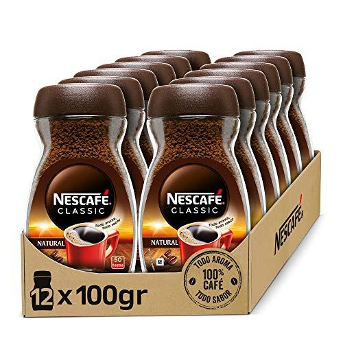 NESCAFÉ CLASSIC NATURAL todo aroma y sabor, café soluble, 100 % café, frasco de vidrio, Pack de 12 x 100 g