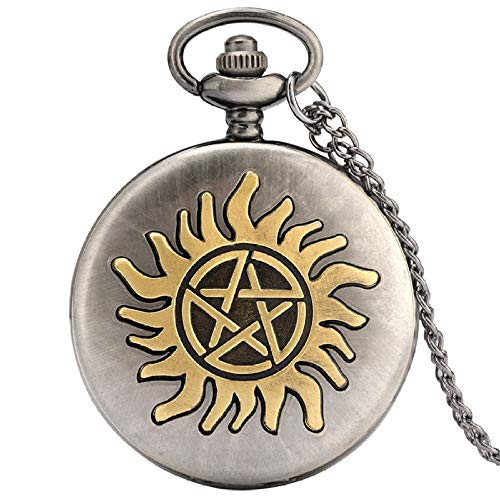 IOMLOP Pocket WatchRetro Five-pointed Star Sun Flower Quartz Pocket Watches Necklace Pendant Women's Sweater Chain Men's Gifts Pocket Fob Watches