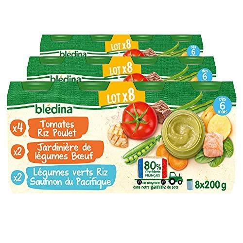 Blédina Petits Pots pour bébé, Dès 6 Mois, Tomates Riz Poulet / Légumes Bœuf / Légumes Riz Saumon, 24x200g (Lot de 3*8)