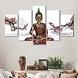 Cuadro sobre Lienzo 5 Partes Imprimir En Lienzo HD Cuadros para Dormitorios Modernos Decoración para El Hogar Buda Zen Mural Cuadro 100X55CM