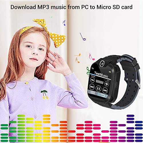 Kinder Smartwatch, Smart Watch Phone mit Musik-Player, SOS, 1,44 Zoll LCD-Touchscreen-Uhr mit Digitalkamera, Spielen, Wecker für Jungen und Mädchen (Schwarz)