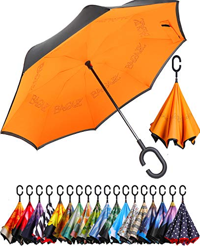 BAGAIL Double Layer Inverted Umbrella Reverse Folding Umbrellas Windproof UV Protection...