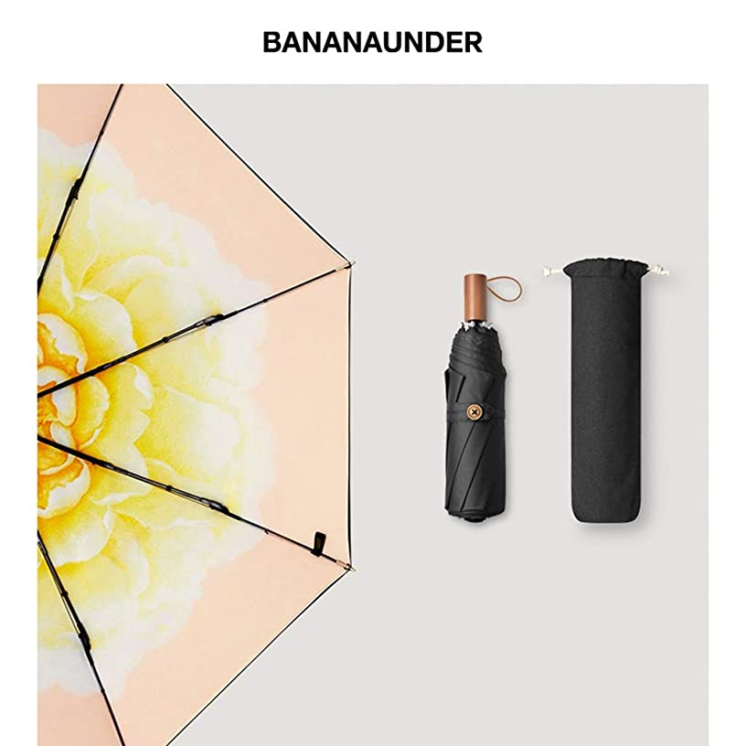 WZJ-UMBRELLAS Sunscreen Folding Black Umbrella/Double Umbrella Cloth/Efficient Sunscreen/Barrier 99.9% UV (Color : B)
