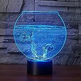 Forma de acuario 3D Ilusión Luz nocturna Flash que cambia de color Lámpara de mesa LED Tienda Dormitorio Regalo Decoración Luces 16 colores
